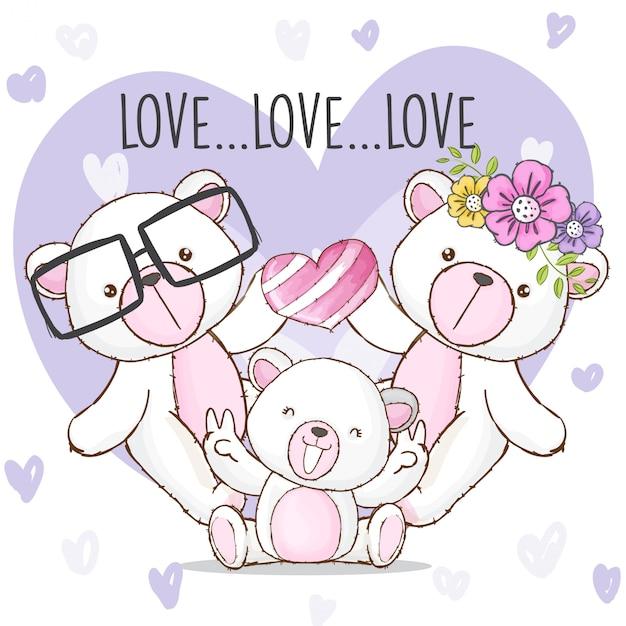 Heureux famille ours animal dessiné à la main Vecteur Premium