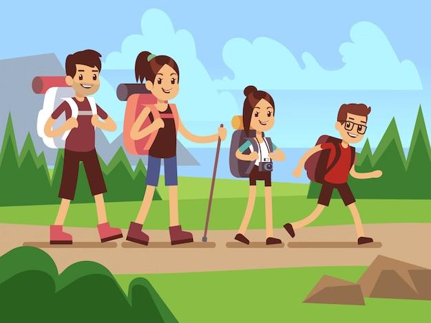 Heureux famille randonneurs. concept de vecteur d'aventure en plein air automne trekking Vecteur Premium