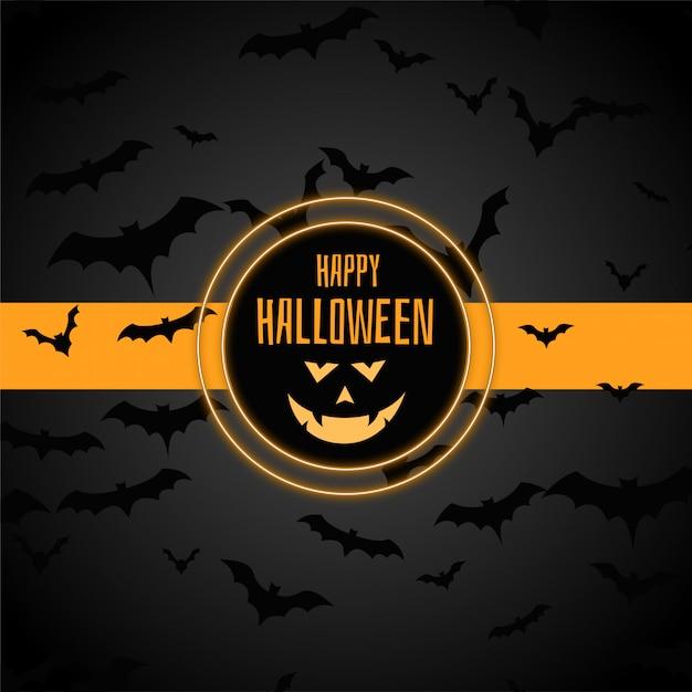 Heureux fond élégant halloween avec beaucoup de chauves-souris Vecteur gratuit