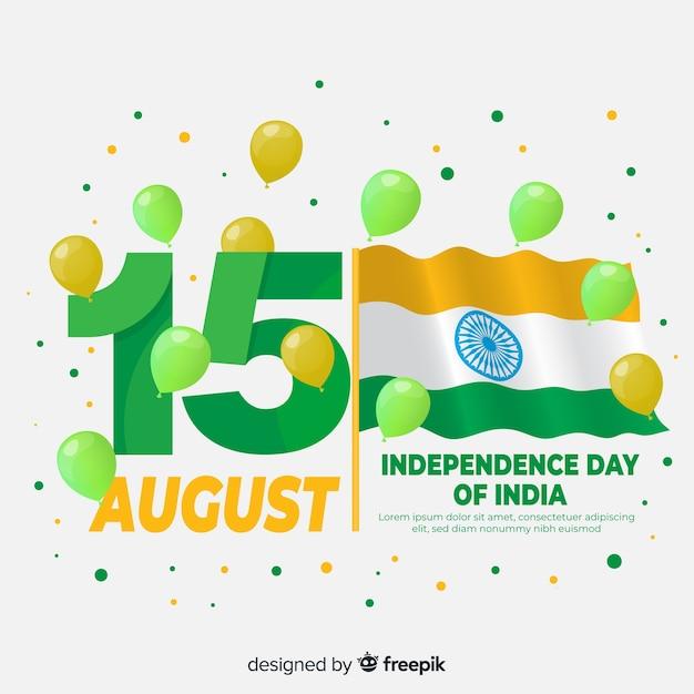 Heureux fond de fête de l'indépendance indienne Vecteur gratuit