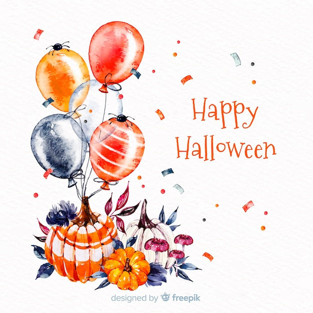 Heureux fond d'halloween avec des ballons Vecteur gratuit