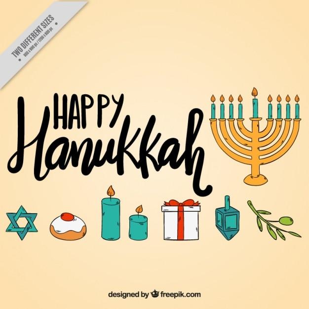 Heureux fond hanoucca avec des objets dessinés à la main Vecteur gratuit