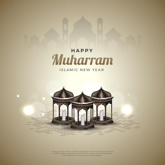 Heureux Fond Muharram Vecteur Premium