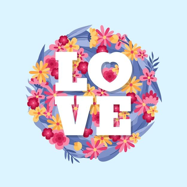 Heureux Fond Plat De L'amour De La Saint-valentin Vecteur gratuit