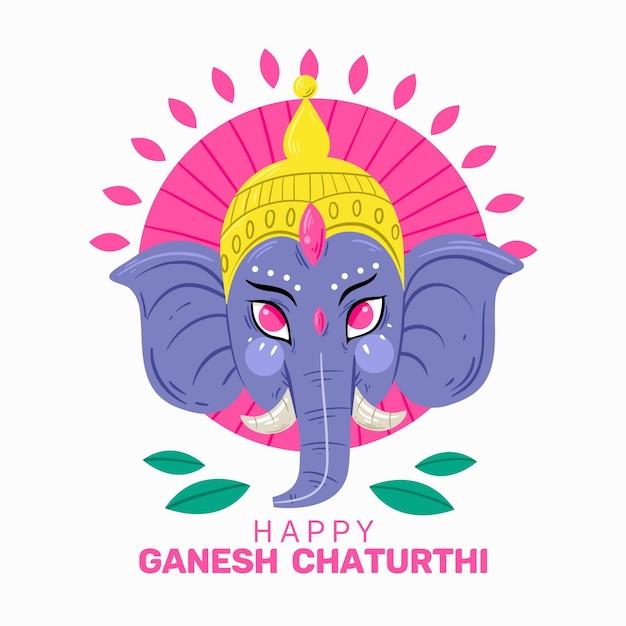 Heureux Ganesh Chaturthi Avec éléphant Vecteur gratuit