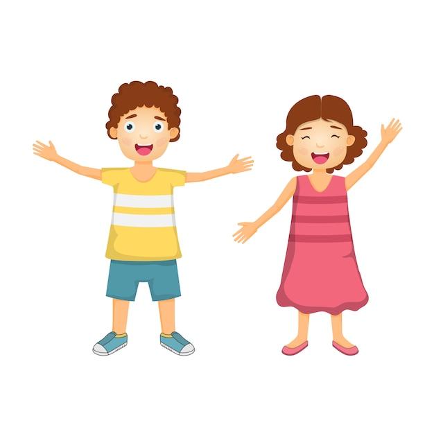 Heureux garçon et fille de dessin animé pour les voyages Vecteur Premium