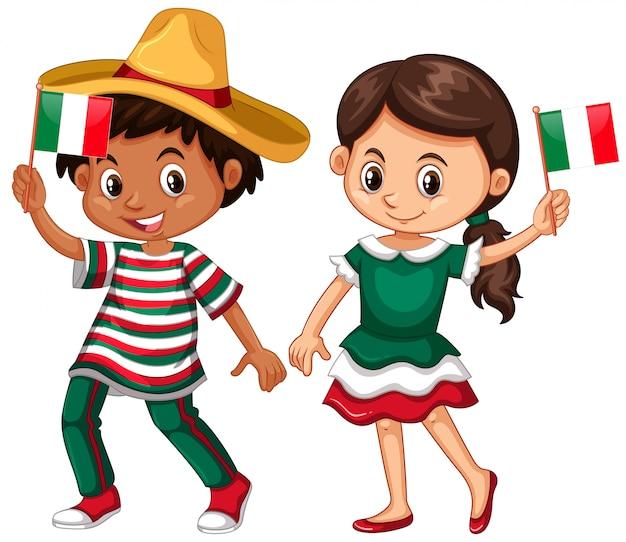 Heureux garçon et fille tenant le drapeau du mexique Vecteur gratuit