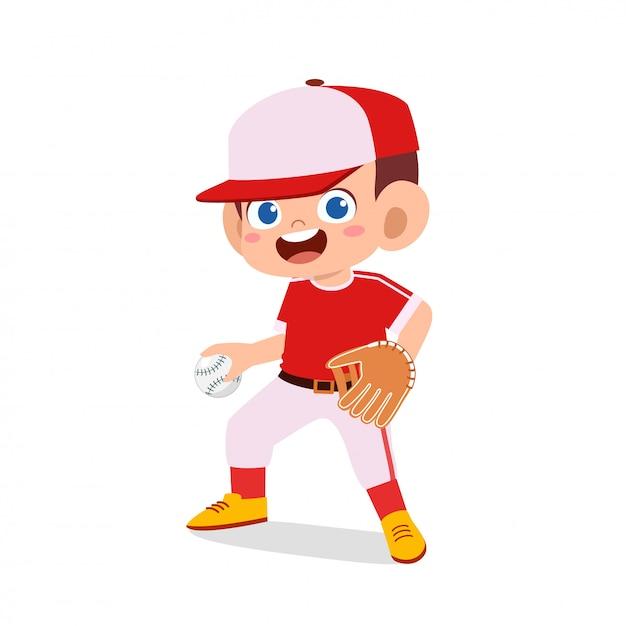 Heureux Garçon Mignon Enfant Jouer Au Baseball De Train Vecteur Premium