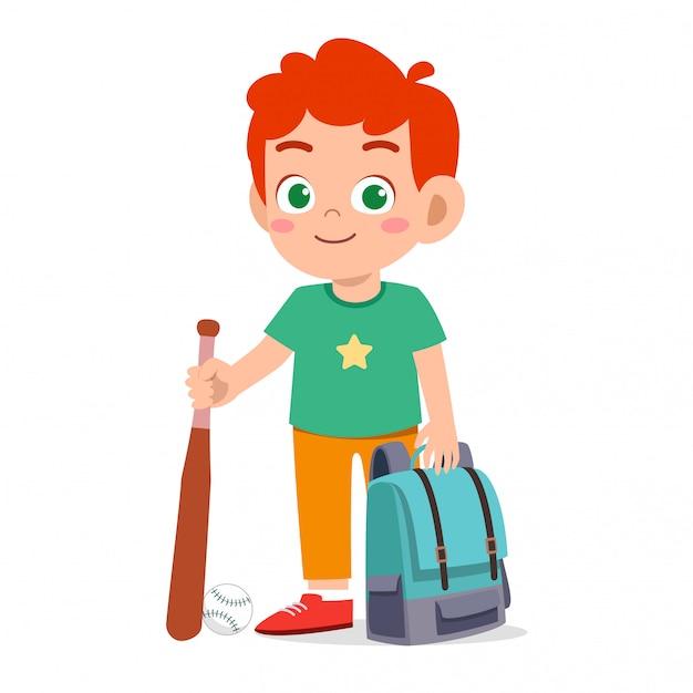 Heureux Garçon Mignon Enfant Prêt à Aller à L'école Vecteur Premium