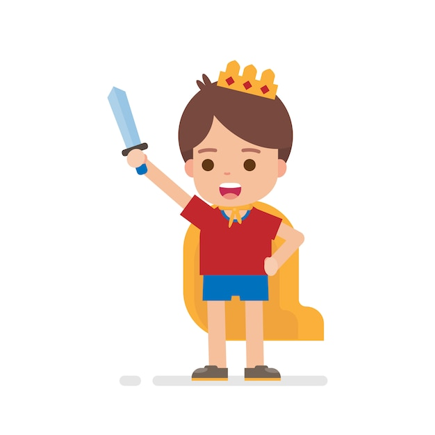 Heureux garçon mignon habiller prince ou roi concept Vecteur Premium