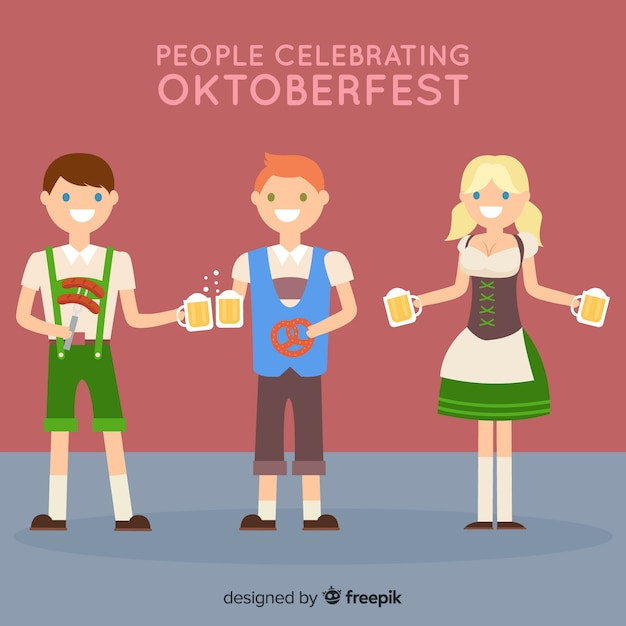 Heureux les gens célébrant l'oktoberfest avec un design plat Vecteur gratuit