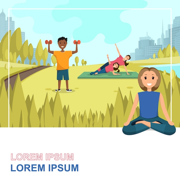 Heureux gens faisant du fitness en plein air en ville Vecteur Premium
