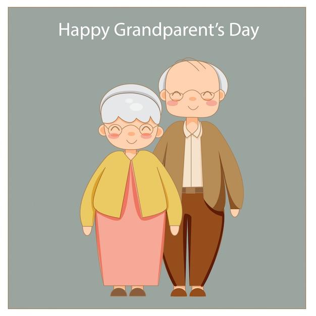 Heureux grands-parents ensemble isolés Vecteur Premium