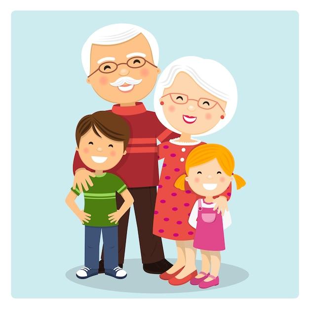 Heureux grands-parents avec petits-enfants sur fond bleu Vecteur Premium