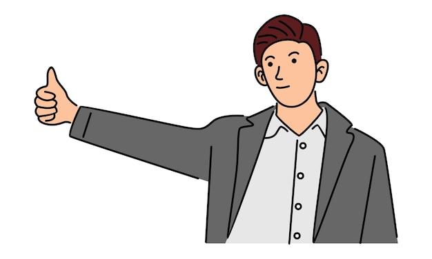 Heureux Homme D'affaires Faisant Signe De Bon Travail Vecteur Premium
