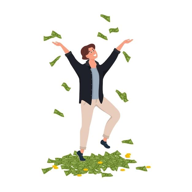 Heureux Homme D'affaires Magnat Cash Billet Dollar Vecteur Premium