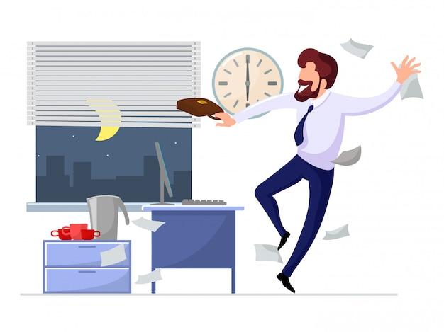 Heureux Homme D'affaires Se Réjouit à La Fin De La Journée De Travail Vecteur Premium