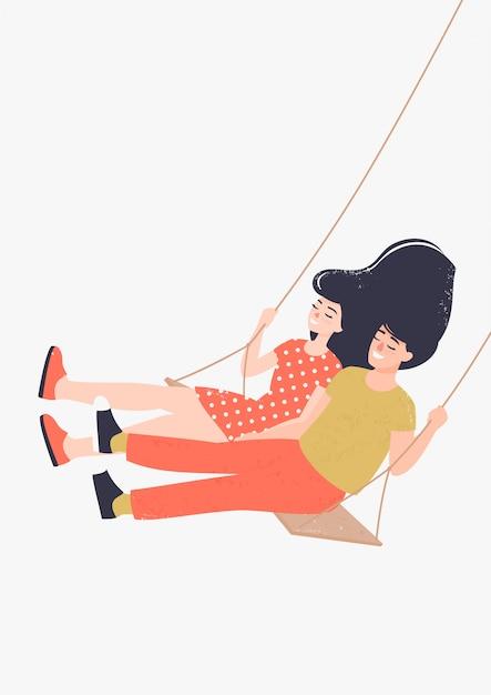 Heureux Homme Et Femme Amoureux Sur Une Balançoire Vecteur Premium