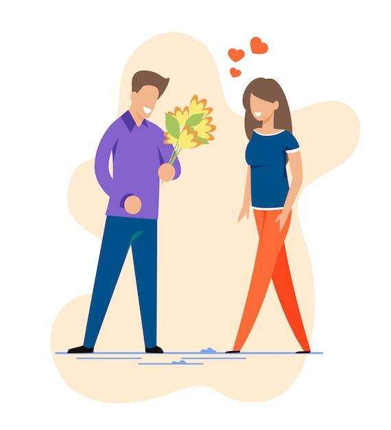 Heureux homme et femme lors de la première découpe de date romantique Vecteur Premium