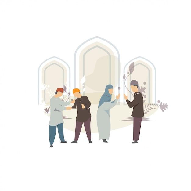 Heureux ied mubarak salut illustration de concept Vecteur Premium