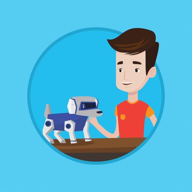 Heureux Jeune Homme Jouant Avec Un Chien Robotique. Vecteur Premium