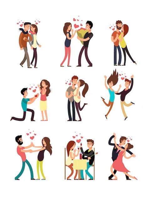 Heureux jeunes couples amoureux, vector personnages de dessins animés de saint-valentin Vecteur Premium