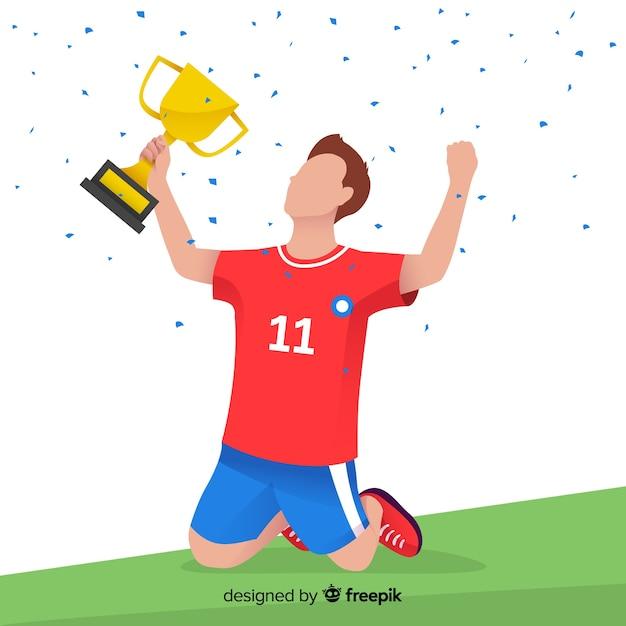 Heureux joueur de football remportant un trophée Vecteur gratuit