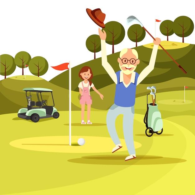 Heureux joyeux homme senior sauter sur le terrain de golf vert. Vecteur Premium