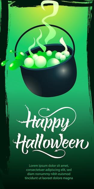 Heureux lettrage d'halloween. chaudron avec potion bouillante Vecteur gratuit