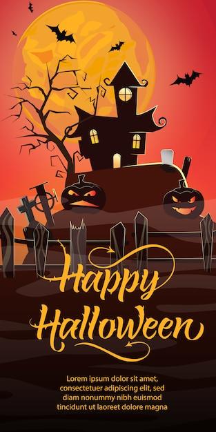 Heureux lettrage d'halloween. maison hantée, citrouilles, cimetière Vecteur gratuit
