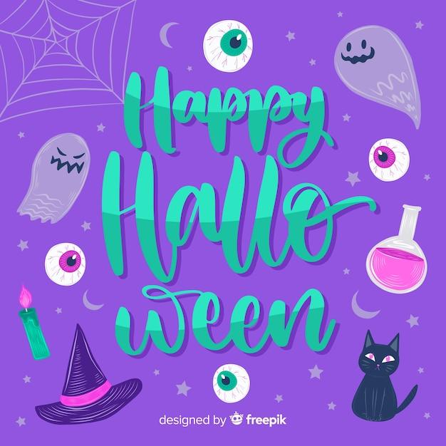 Heureux lettrage de sorcellerie d'halloween Vecteur gratuit