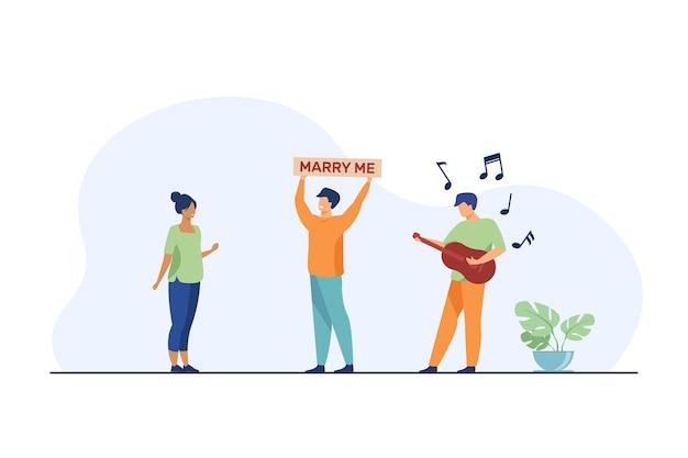 Heureux Mec Proposant Le Mariage à La Femme Vecteur gratuit