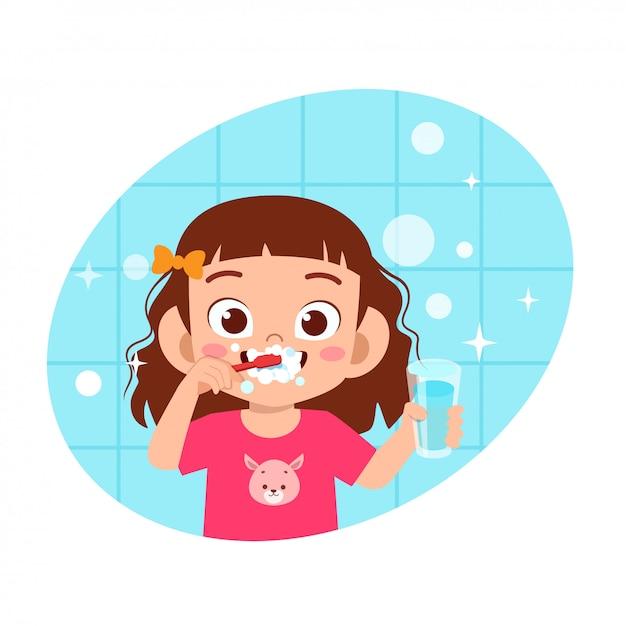 Heureux Mignon Enfant Fille Brosse Nettoyer Les Dents Vecteur Premium