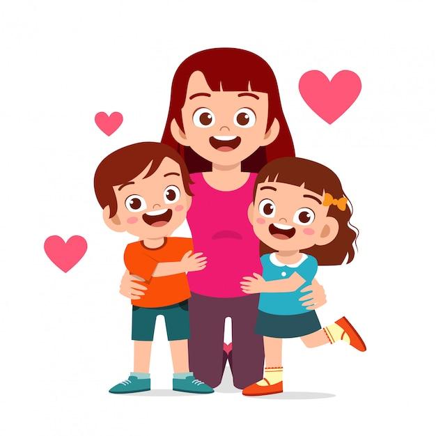Heureux Mignon Enfants Garçon Et Fille Câlin Maman Vecteur Premium