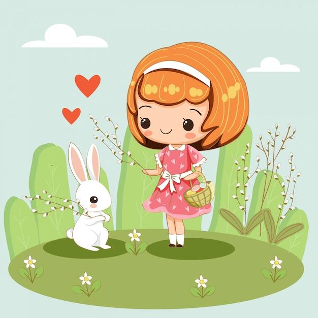 Heureux mignon et fille et lapin Vecteur Premium