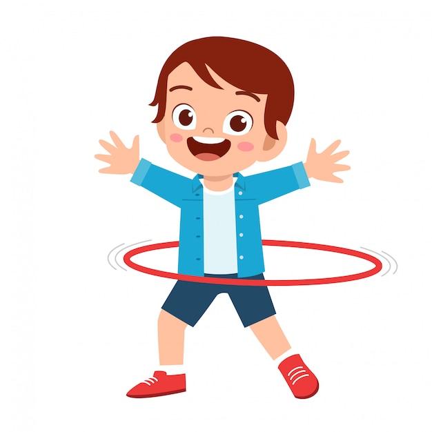 Heureux Mignon Petit Garçon Enfant Jouer Hula Hoop Vecteur Premium