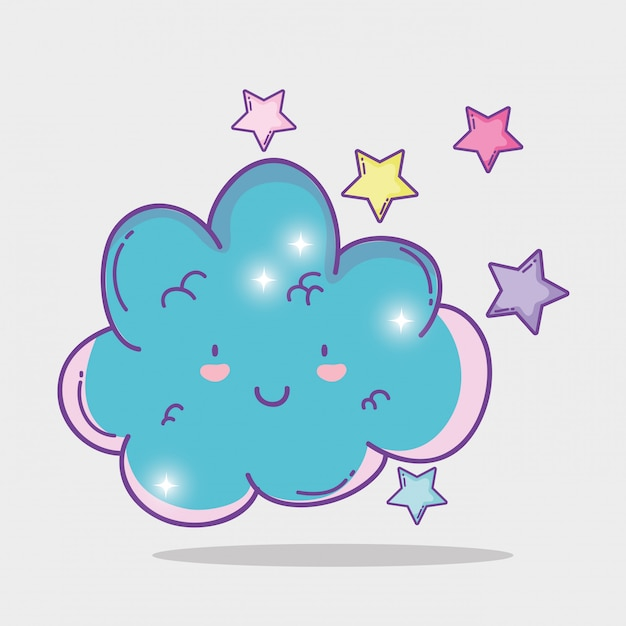 Heureux nuage moelleux avec étoiles mignonnes Vecteur Premium