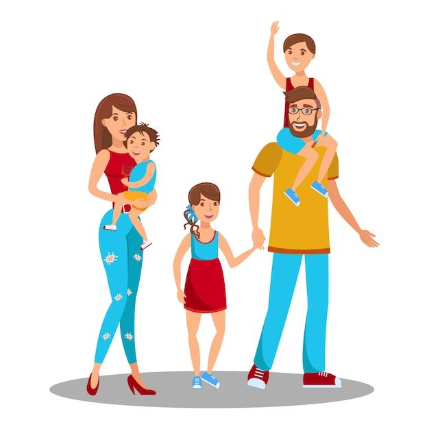 Heureux Parents Avec Enfants Vecteur Premium
