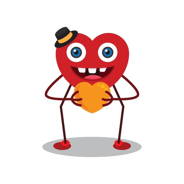Heureux personnage de dessin animé de jour de valentine Vecteur Premium