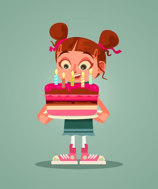 Heureux Personnage De Fille Souriante Tenant Le Gâteau Avec Bougie Et Faire Des Voeux Vecteur Premium