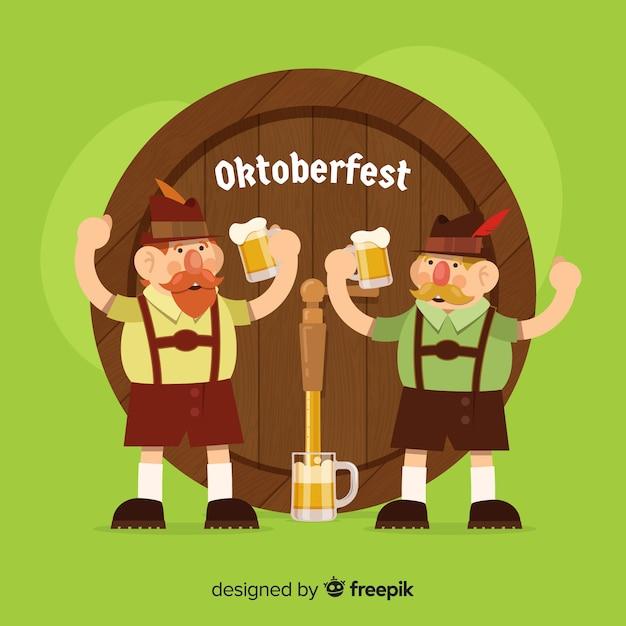 Heureux personnages plats célébrant l'oktoberfest Vecteur gratuit