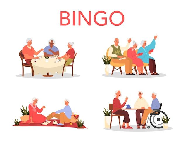 Heureux Les Personnes âgées Jouant Au Bingo Ensemble. Vieil Homme Et Femme Jouant Vecteur Premium