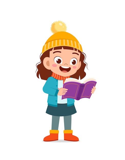 Heureux Petit Enfant Mignon étudie Et Porte Une Veste En Hiver Vecteur Premium