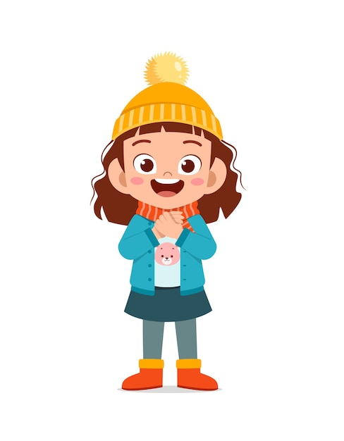 Heureux Petit Enfant Mignon Jouer Et Porter Une Veste En Hiver Vecteur Premium