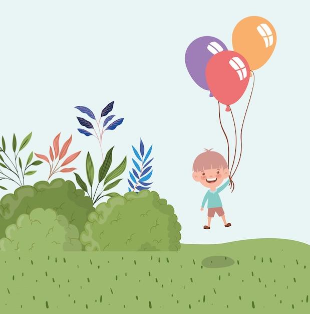 Heureux petit garçon avec des ballons à l'hélium dans le paysage Vecteur gratuit