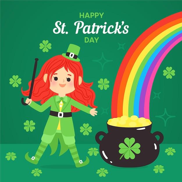 Heureux St. Patrick's Day Dessiné à La Main Avec Arc En Ciel Vecteur gratuit