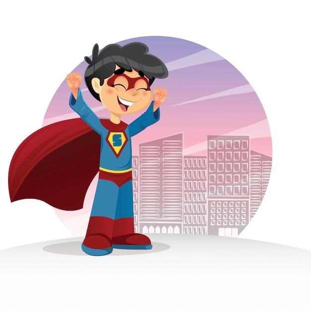 Heureux super boy Vecteur Premium