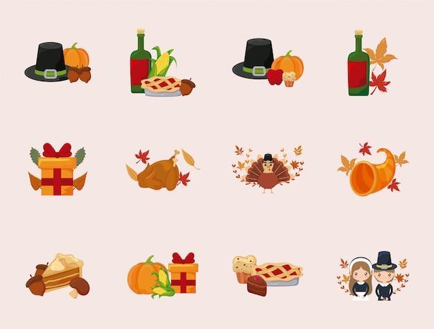 Heureux Thanksgiving Day Icon Set Vector Design Vecteur Premium