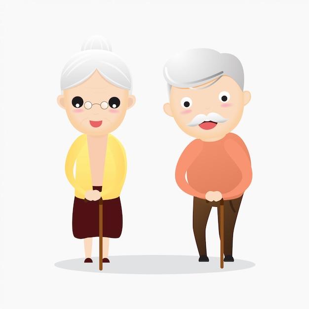 Heureux vieil homme et femme avec des lunettes et canne Vecteur Premium