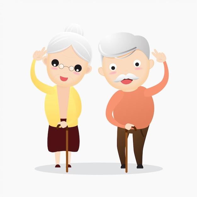 Heureux vieillard et vieille femme Vecteur Premium